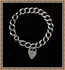 Etched Silver Heart Bracelet Link w Padlock Charm Early