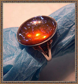 Vintage Sterling Ring Jelly Opal Art Glass Dragon's Breath