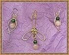 Signed Pendant Drop Earrings Set Rose Quartz Aventurine