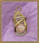 14K Rolled Gold Pendant with Rose Quartz Gem