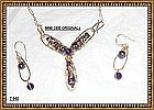 Artist Signed Studio Necklace Pendant Pearl Amethyst