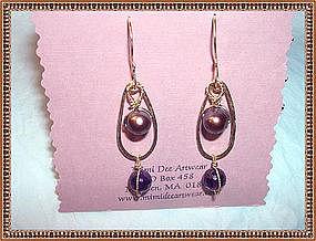 Artist Signed Earrings Purple Iridescent Pearl Amethyst