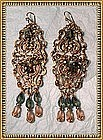 "Big Earrings 5"" Filigree Stamps Czech Glass"