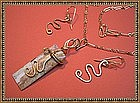 Signed Jasper Necklace Pendant Earrings Set Abstract