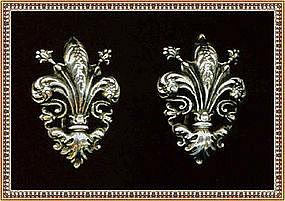 Vintage Designer Sterling Earring Clips Fleur de Lis