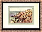 Signed Painting of Maine Coast Watercolor