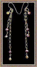 Earrings Double Chain Pearls Swarovski Faceted Crystals