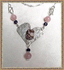Signed Sterling Hammered Heart Necklace Pendant Rose