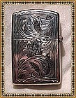 Vintage Zippo Lighter 800 Silver Peruzzi Chased Case