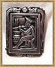 Signed 900 Silver Peru Pin Man Plays Flute Serpent Idol