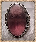 Arts & Crafts Sterling Gold Ring Frosted Amethyst Glass