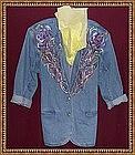Hand Painted Blue Denim Jacket Blazer Multi Floral