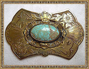 Vintage 1900 Gold Gilt Sash Pin Ornament Turquoise Cab