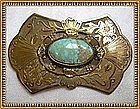 Vintage 1900 Gold Gilt Sash Pin Ornament Turquoise Cab