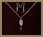 Signed Sterling Silver Necklace Set Opal Etched Glass