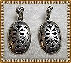Vintage Silver Earrings Taxco Mexico Open Work Shadow