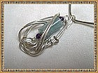 Signed Studio Sterling Necklace Neckwire Lg Aquamarine