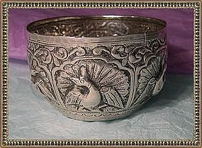 Vintage Offering Cup Bowl Silver Repousse Peacock