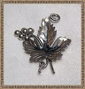 Sterling Silver Mexican Mexico Leaf Grape Pin Brooch