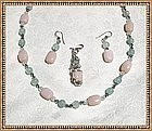 Signed Pink Opal Aquamarine Sterling Silver Necklace