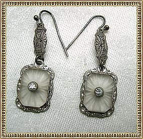 Vintage Camphor Glass Filigree Drop Earrings Sterling