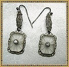 Vintage Camphor Glass Filigree Drop Earrings Sterling