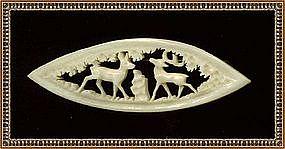 Carved 'Ivory' Bone  Deer  & Doe in Woods Pin Figural