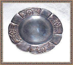 Vintage Maciel Mexico Sterling Silver Repousse Dish