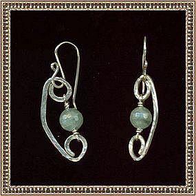Artist Signed Sterling Silver Earrings Aquamarine