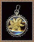 Vintage Silver Pendant Pin Edelweiss Crystal Symbolic
