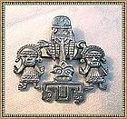 Vintage Industria Peruana 900 Silver Idol Figural Pin C