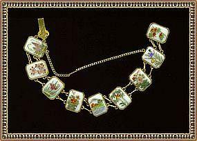 Vintage Satsuma 9 Link Bracelet Hand Painted Figural