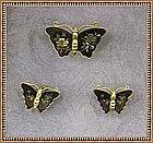 Vintage Amita Butterfly Earring Pin Damascene Metal