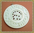 Vintage Carved Ivory Dragon Pendant Reticulated Mellow