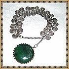 Unmarked Vintage Sterling Silver Bracelet Sprial & Jade