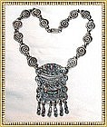 Vintage MATL Like Sterling Silver Medallion Necklace