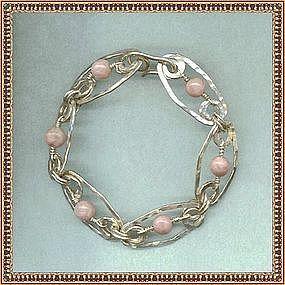 MIMI DEE Sterling Silver Hammered Bracelet Rhodocrosite
