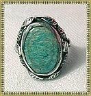 Vintage Art Deco Nouveau Arts Crafts Sterling Silver Leaf Ring