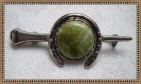 Vintage W. B. s Sterling Silver Pin Green Mottled Cab