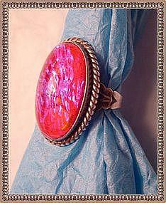 "Vintage Harvey Era Jelly Opal Sterling Ring ""JP"" Art"