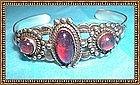 Sterling Silver Bracelet Cuff Jelly Opal Glass 3 Cabs