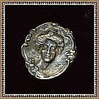 "Vintage ""GIBSON GIRL"" Art Nouveau Silver Plated Button"