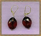 MIMI DEE 14K Gold Cherry Red Bead Earrings