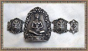 Vintage Gino M Peruzzi Sterling Silver Bracelet Figural Lotus
