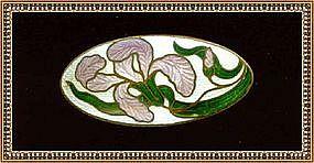 Vintage Gold Gilt Brass Brooch Pin Enamel Iris White