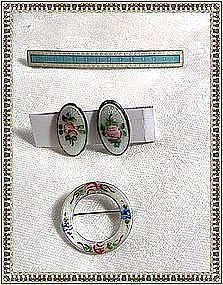 Vintage Sterling Silver Guilloche 2 Pin, Earring Trio