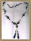 Vintage Necklace Green Cobalt Blue Glass Beads Foil