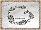 Signed MIMI DEE Fine Silver Bracelet Coral Hand Built