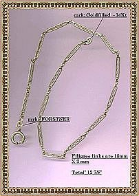 Vintage 14K Gold Fill Filigree Forstner Watch Chain