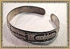 Vintage Sterling Arts Crafts Bangle Bracelet Camp Fire Girls